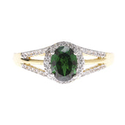 Oval Emerald Green Halo Ring - Viamar Jewelry