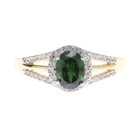 Oval Emerald Green Halo Ring