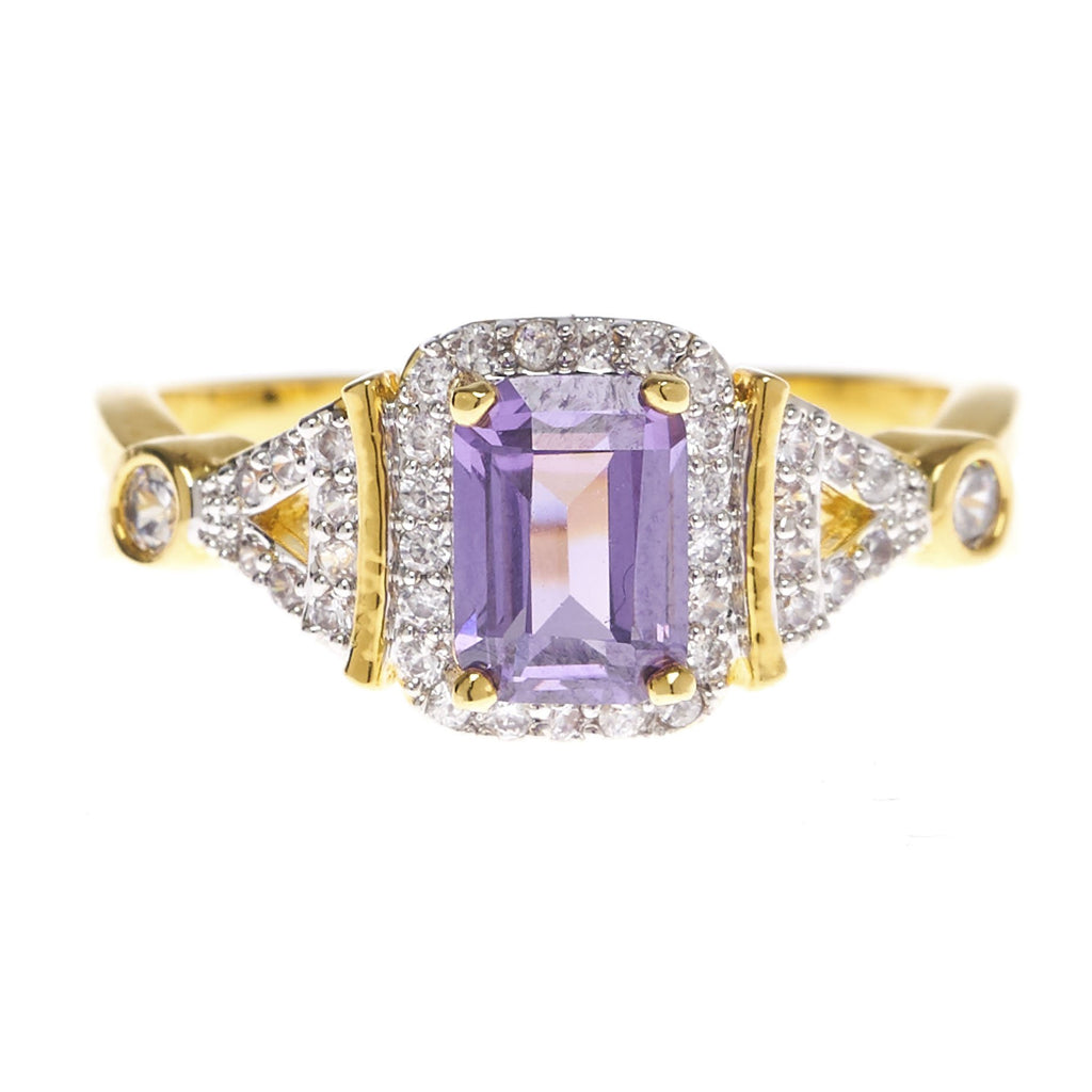 Rectangle Amethyst Cubic Zirconia Ring - Viamar Jewelry