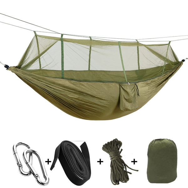 1 2 person outdoor mosquito   parachute hammock camping hanging sleeping bed swing portable double chair hamac army green portable camping hammocks  u2013 camping gear plus  rh   campinggearplus