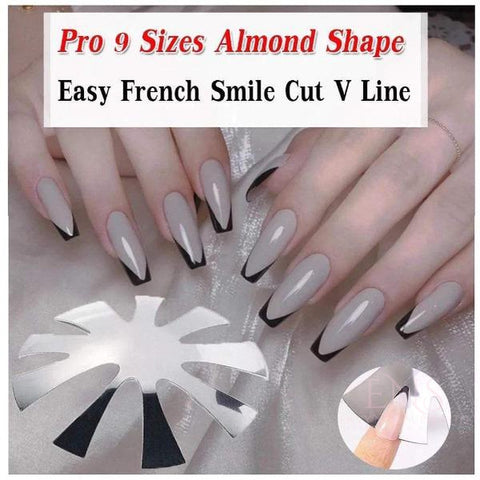 ENS Nail Supply Cutter Pro 9 Sizes Easy French Smile Cut V Line almond shape Tips Manicure Edge Trimmer