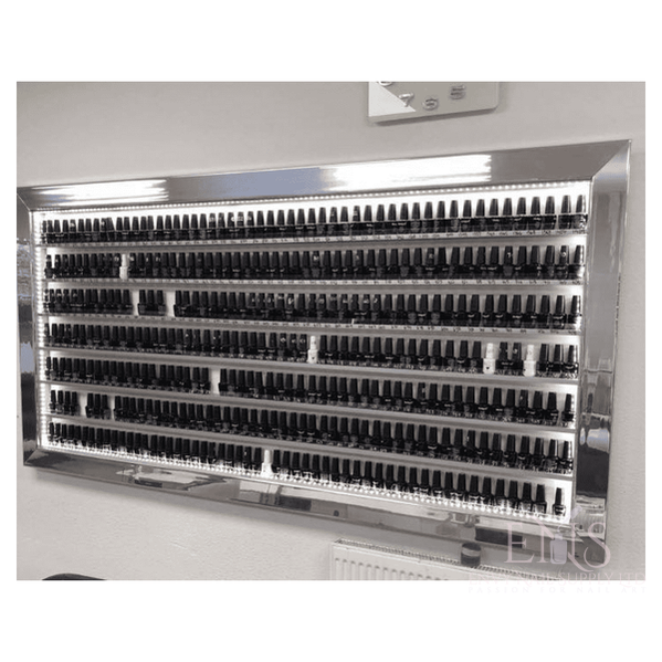 Nail polish display frame mirrored reflective silver