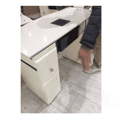 LC Nail Table White and Black Nail Tech Table, Nail Table Manicure Station With Extractor Fan Manicure Desk