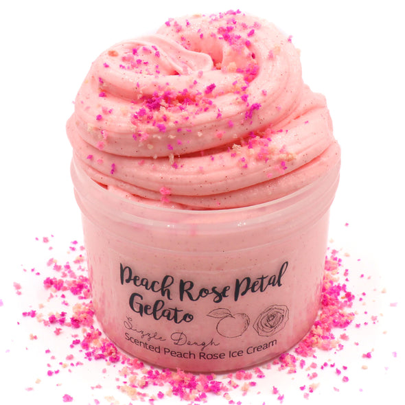 Peach Rose Petal Pink Sprinkles Soft Creamy Sizzly Butter Slime Fantasies Shop 8oz Front View