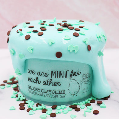 We Are Mint For Each Other Valentines Mint Green Chocolate Chip Thickie Thick Glossy Sprinkles Clay Slime Fantasies Shop 7oz Front View