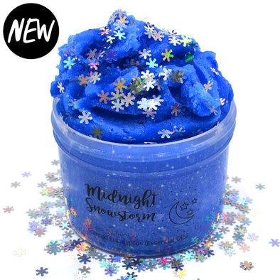 Midnight Snow Storm Blue Icee Glitter Christmas Slime Fantasies Shop 8oz Front View