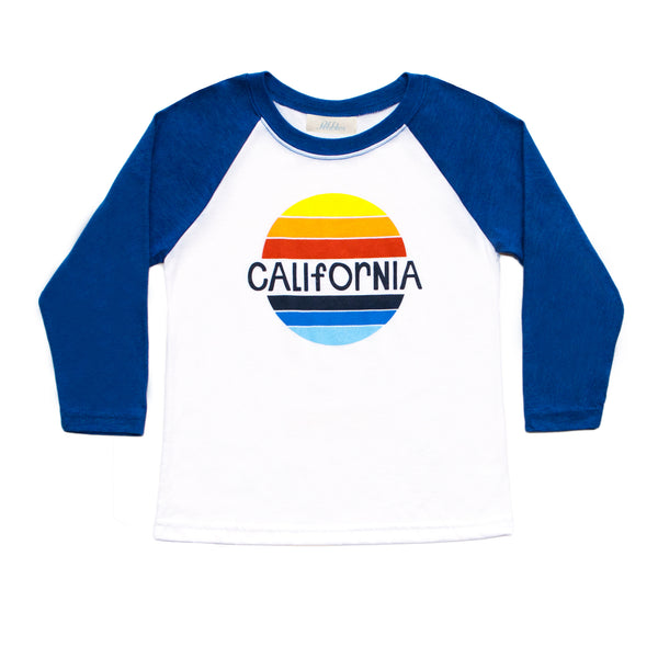 Girls California Retro Rainbow Baseball Tee