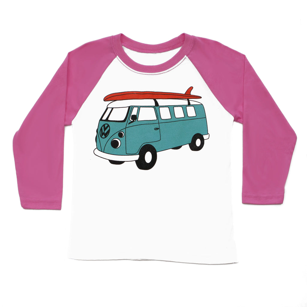 Girls Surf Van Baseball Tee
