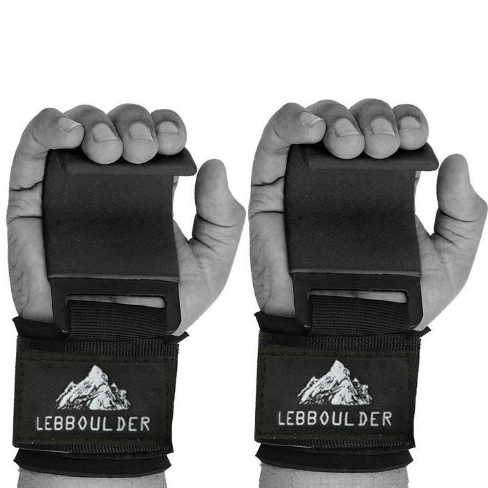 Lebboulder Workout Gloves: Grip Power Pads With Heavy Duty Metal Lifting Steel Hooks