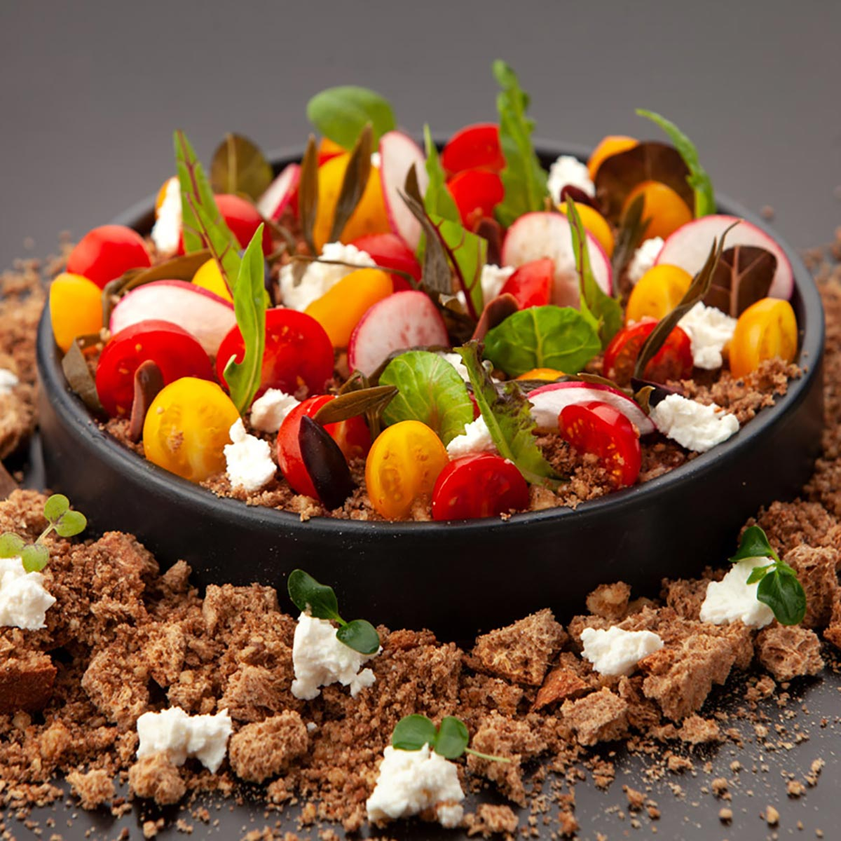 Chef Aostolos Altanis tomato and feta dakos salad with herbs
