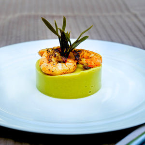 Santorini Fava with Spice-Seared Shrimp and Sea Fennel