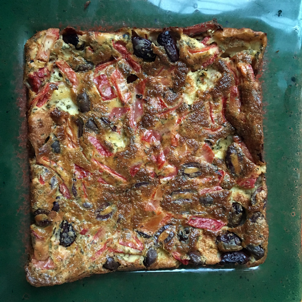 Greek Clafoutis a recipe with olives and roasted red peppers