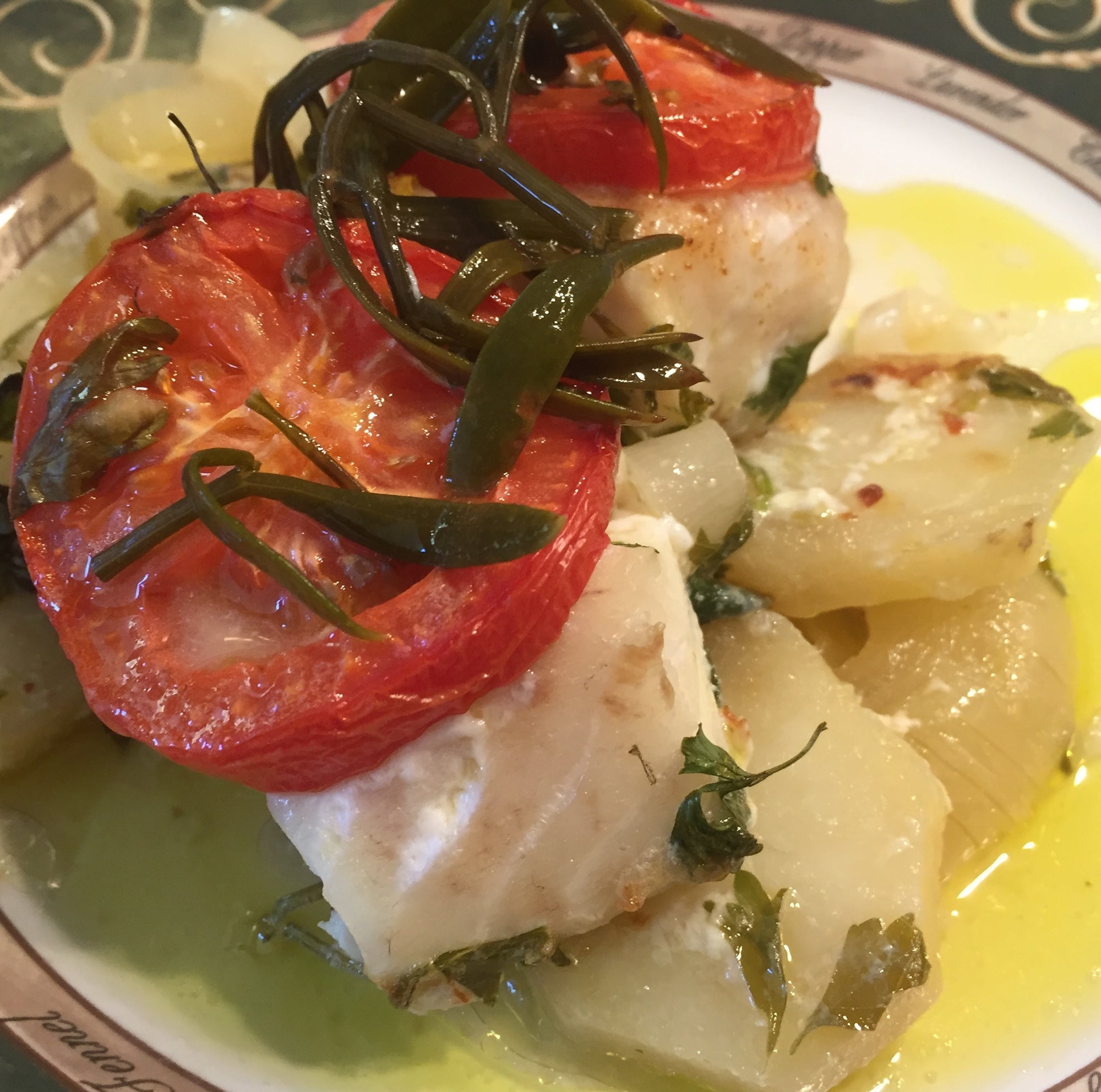 "Oven-Baked Fish with Sea Fennel - ""plakí"""