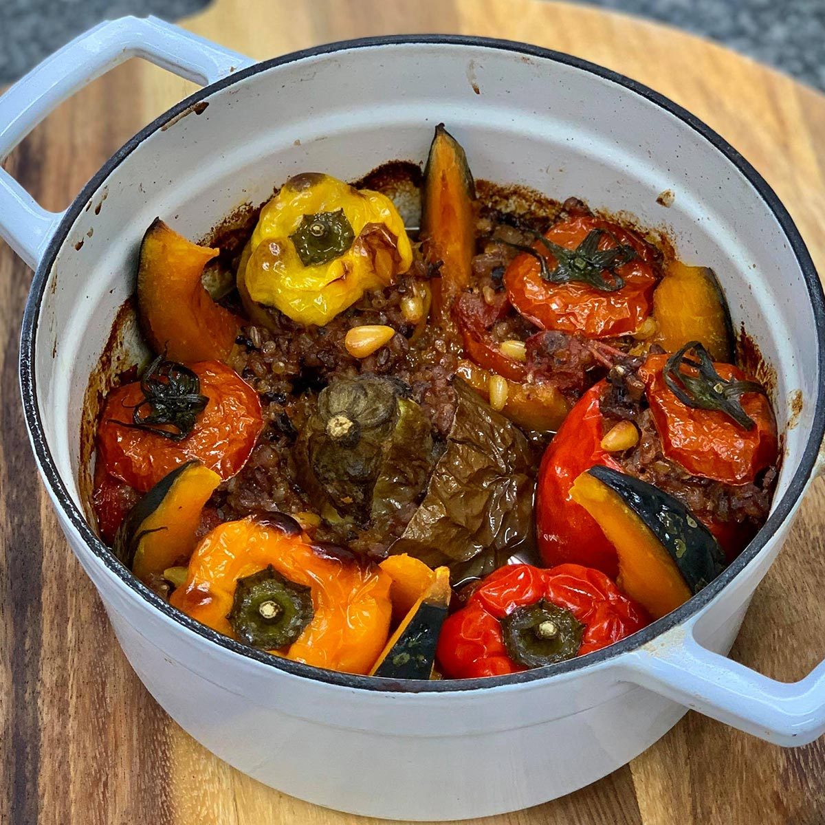 Vegan Greek stuffed peppers and veggies gemista