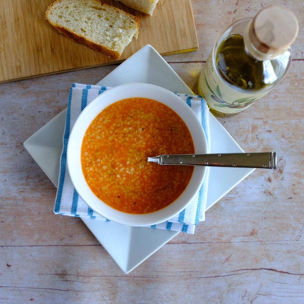 Easy night soup meal kit, a healthy meal with spicy Greek trahana soup, all-natural veggie spread and spices with orange zest