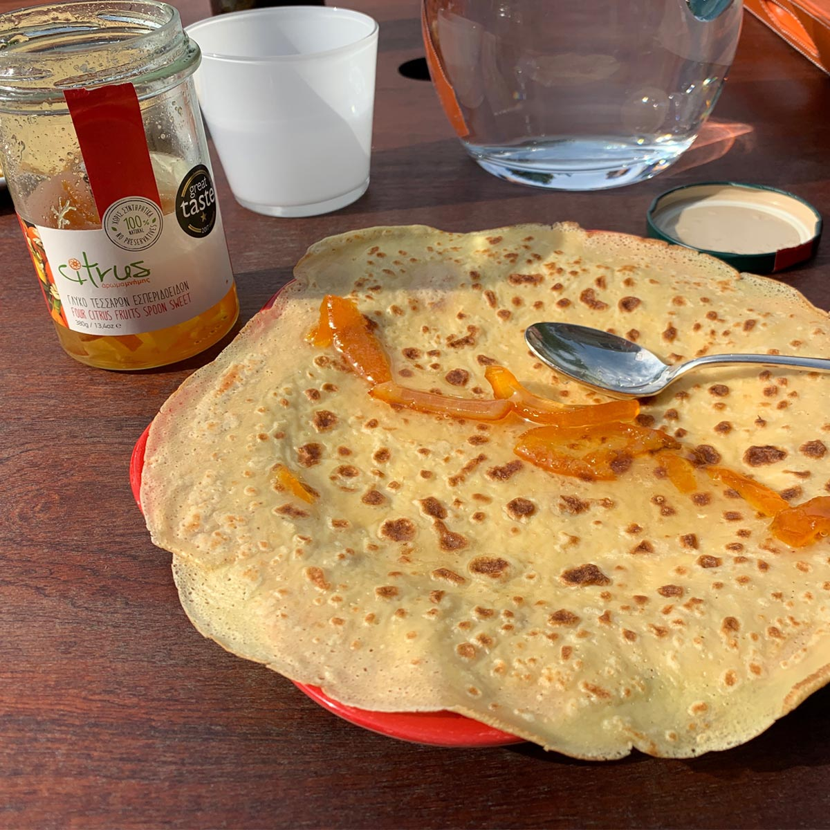 French crepes with Citrus Chian tangerine all-natural fruit preserve
