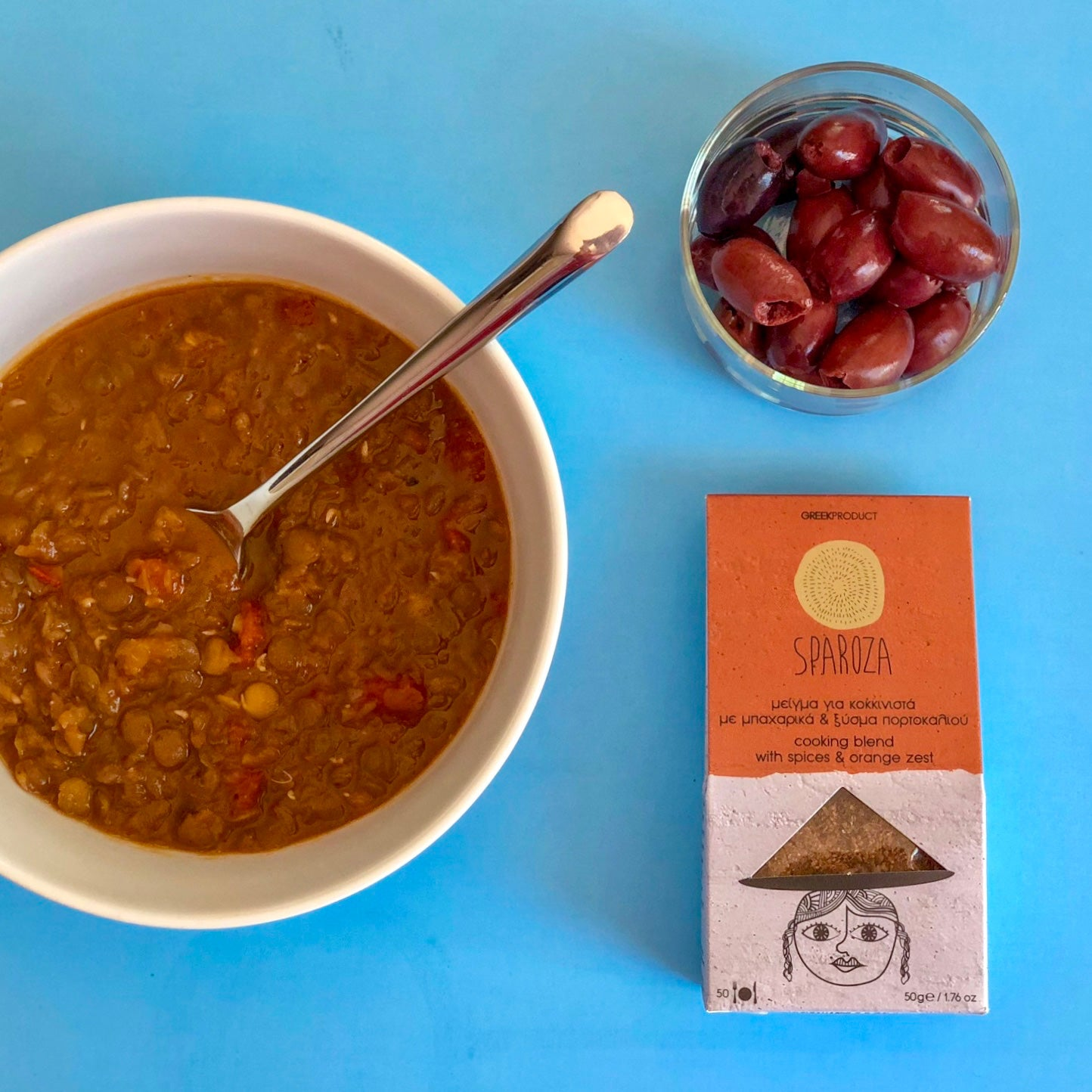 traditional greek lentil soup with spicy flaming red pepper all-natural spread from Elli & Manos