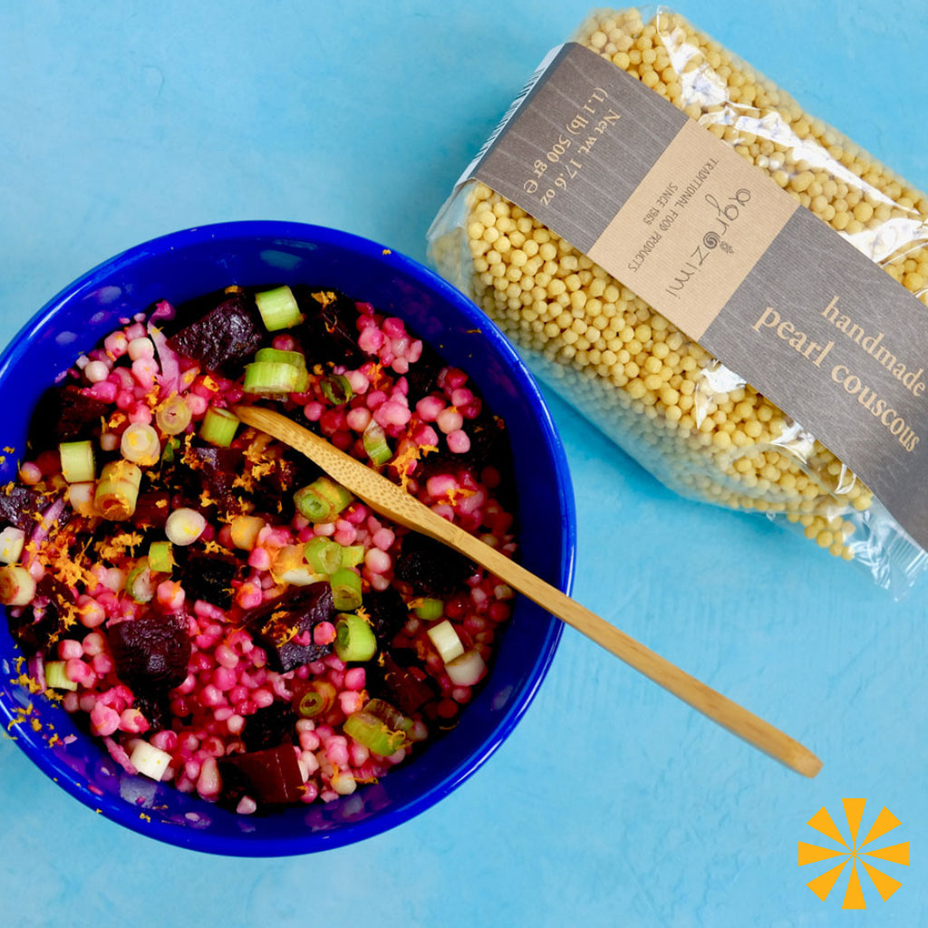 Roasted beet pearl couscous salad with Agrozimi handmade Greek pasta
