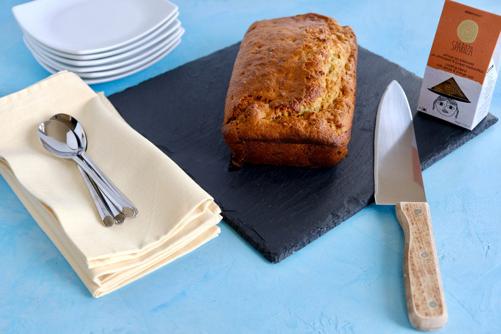 Spicy banana bread with sparoza's spice and orange peel condiment, cooking blend