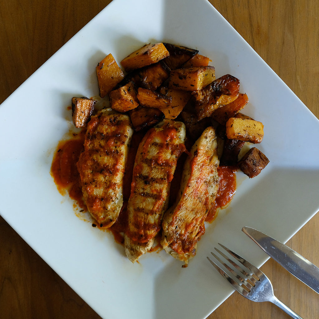 spicy grilled chicken using Elli & Manos flaming red pepper all-natural spread