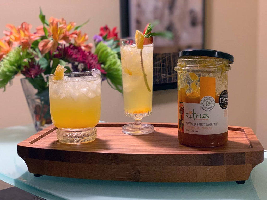 sparkling cocktail with Citrus Chios tangerine handmade marmalade