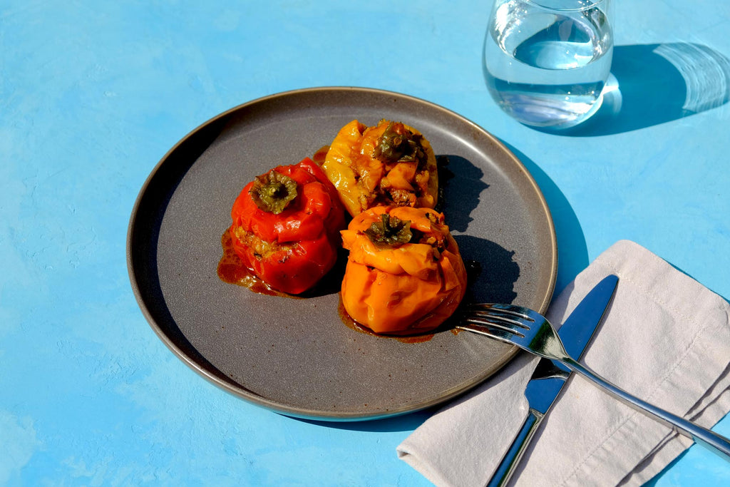 Crockpot stuffed tomatoes and peppers gemista