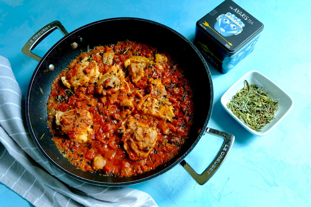 Chicken stew with Sparoza Avaris tea, easy and healthy recipe