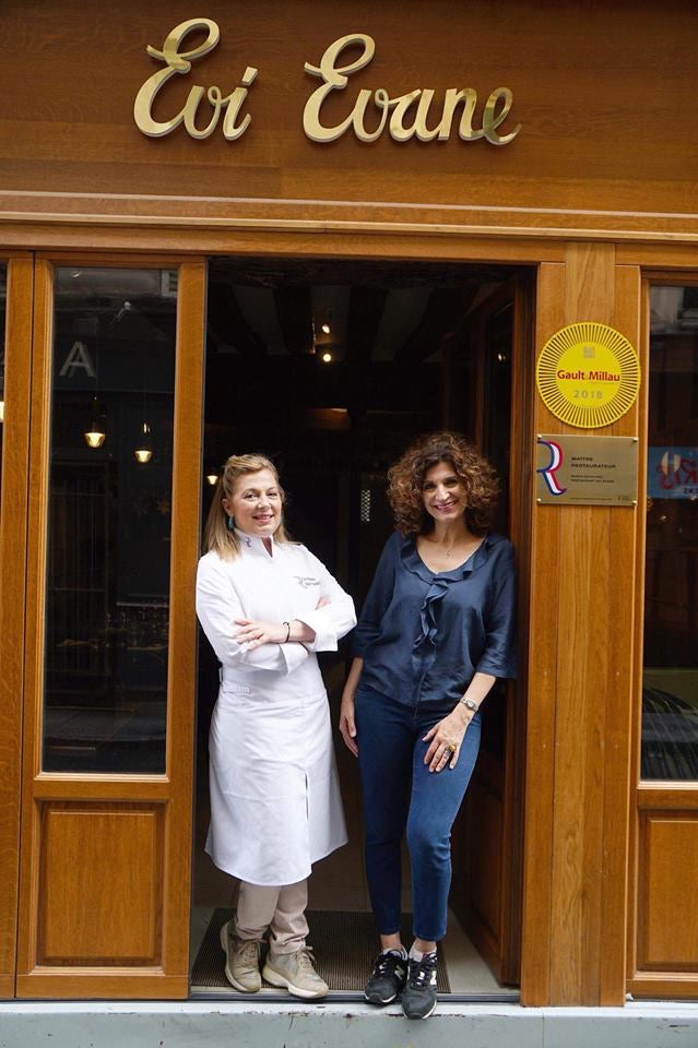Dina and Maria Nikolaou in front of their restaurant