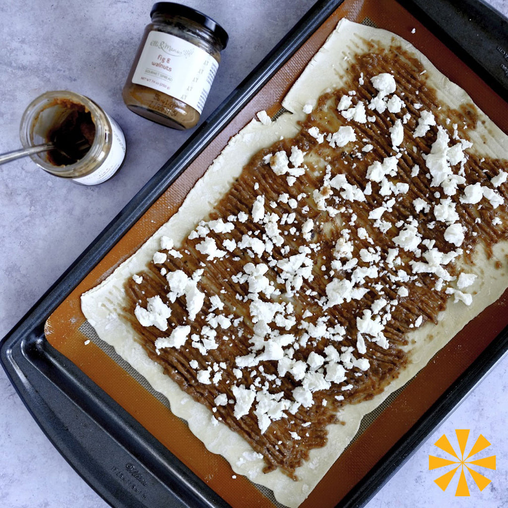 Elli & Manos fig and walnuts spread on puff pastry with goat cheese