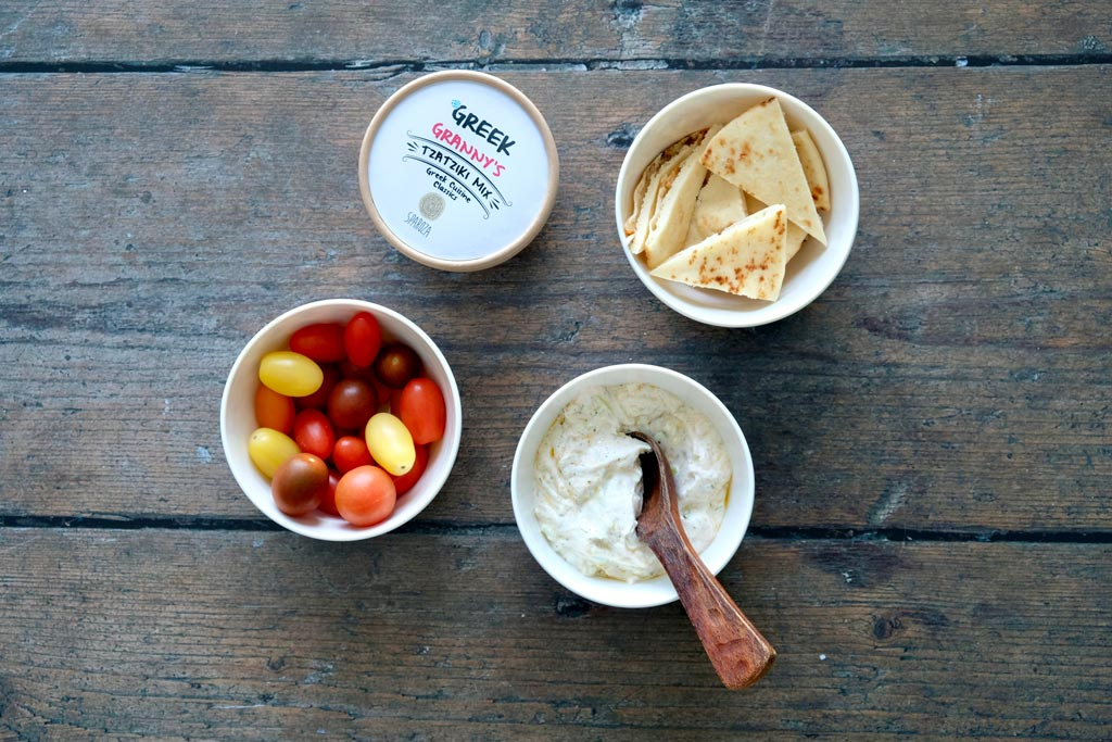 Sparoza tzatziki all natural cooking blend and condiment with Greek pitta bread
