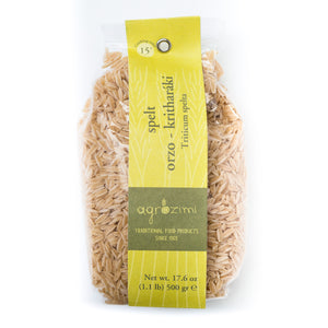Agrozimi Traditional Spelt Orzo Kritharaki. All-natural Artisanal Pasta