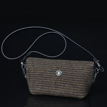 Compass handbag in Earth Multistripe - back of bag.