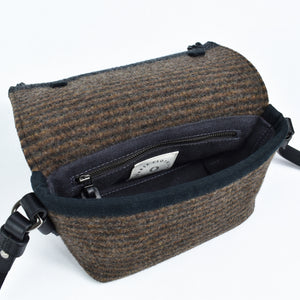 Compass Handbag in Earth Multistripe - interior view.