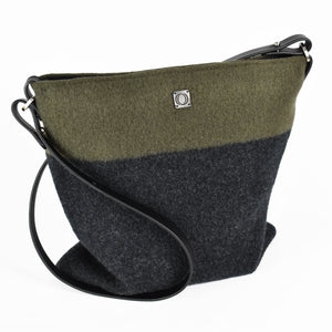 Knit-felted, ultra-fine merino wool handbag in Alpine. Made in Colorado.