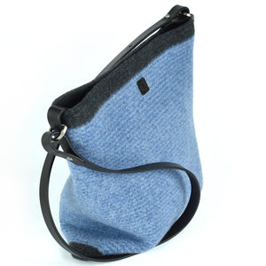 Chambray blue stripe handbag. Made in Colorado.