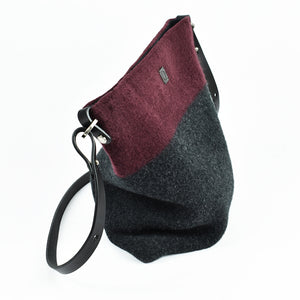 Knit-felted, ultra-fine merino wool handbag in Garnet. Made in Colorado.
