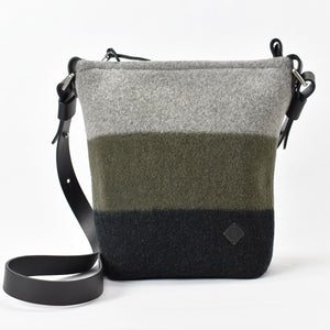 "Scout handbag in Alpine / Raven soft merino wool and 1"" thick strap."