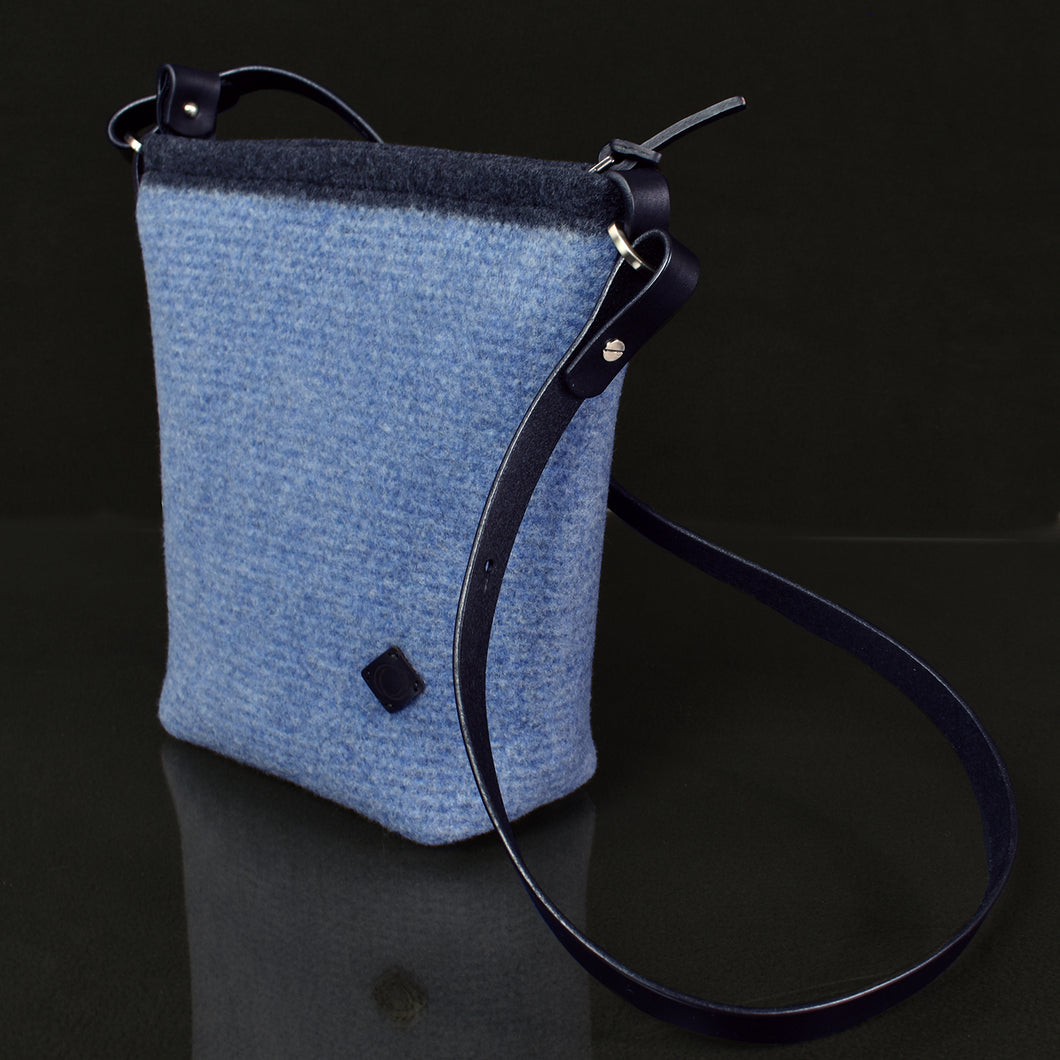 The Scout Handbag in felted merino color Chambray Multi-stripe.