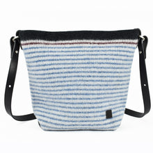 Knitted, boiled soft wool handbag in denim blue stripes on cream ground. Organic, renewable and toxin free.