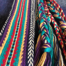 Load image into Gallery viewer, Colorful, tablet woven strap - southwest motif in turquioise,purple, gold and flame red. with colorful, braided, tassel ends.