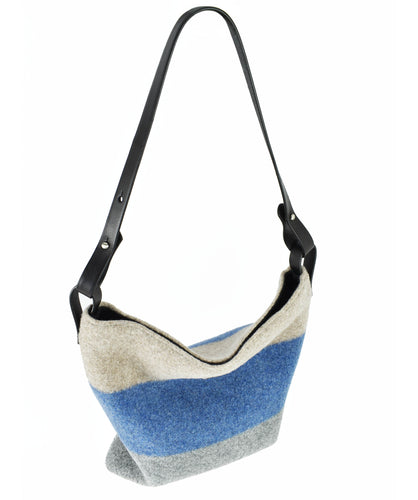 Slouchy, boiled wool, soft felt handbag in 3 color stripes: smoke, sky and cloud.