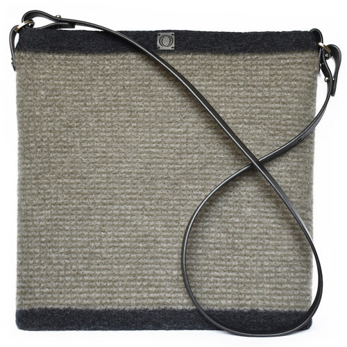 Knitted, boiled wool, soft felt handbag in alpine and gravel stripes. Organic, renewable and toxin free.