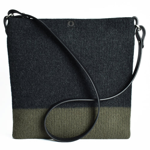 Large, boiled wool, soft felt handbag in alpine and charcoal..