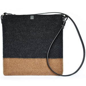 Earth brown & charcoal, boiled wool, soft felt handbag. Organic, toxin free handbag.