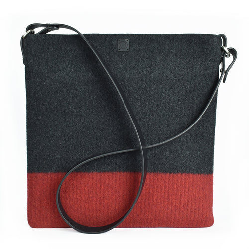 Flame red & charcoal, boiled wool, soft felt handbag. Organic, toxin free handbag.