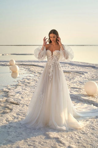 Blouse Sleeves Wedding Dress on the beach