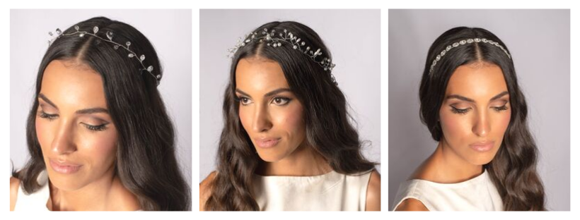 June Avenue Three brides with hair vines and tiaras