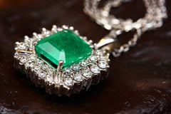 Emerald birth stone square shaped pendant necklace with clear diamonds