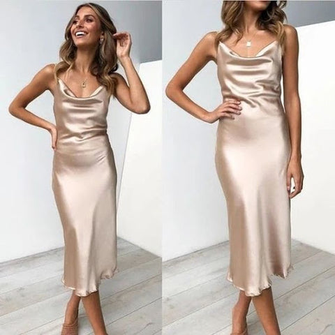 Cowl neckline bridesmaid dress by June Avenue