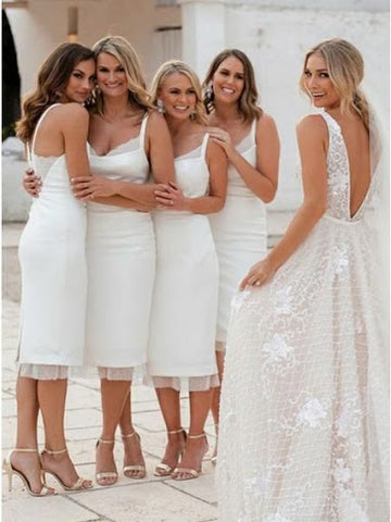 White bridesmaids dresses by June Avenue